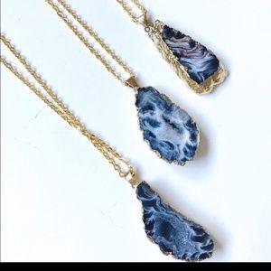 LAST 2** Agate Geode Slice Necklace 18K